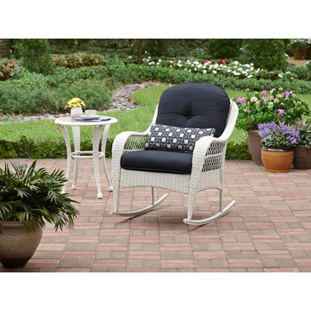outdoor rocking chair wicker white porch rocker with cushion patio furniture new ebay. Black Bedroom Furniture Sets. Home Design Ideas