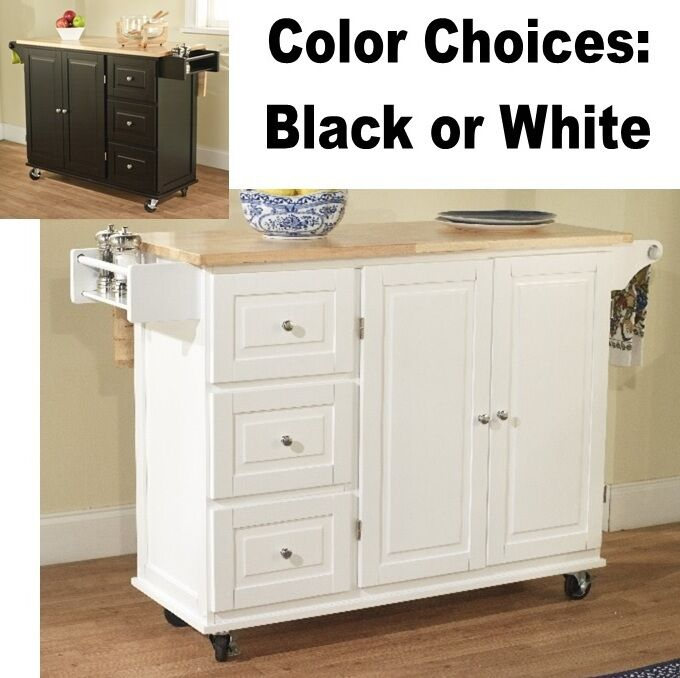 3 drawer kitchen cart spice rack drop leaf island white black wood island carts ebay. Black Bedroom Furniture Sets. Home Design Ideas