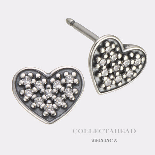 Pandora Silver Stud Earrings: Authentic Pandora Silver Pave Heart Clear CZ Stud Earrings