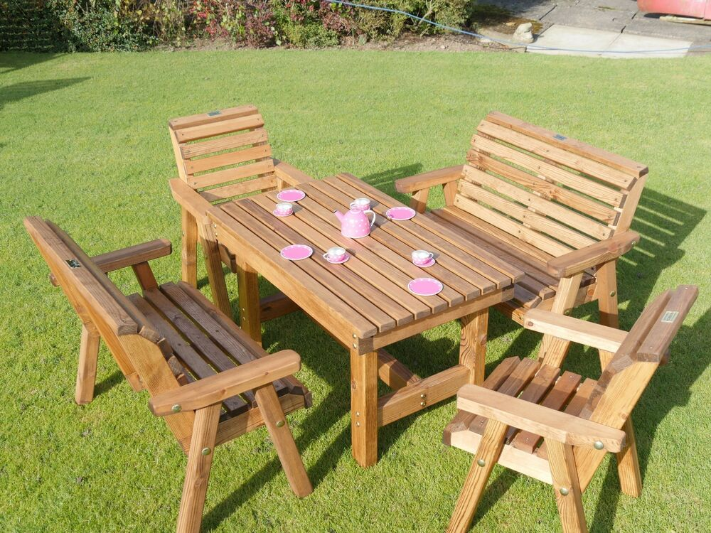 Wooden Childrens Patio Set - Outdoor Garden Furniture