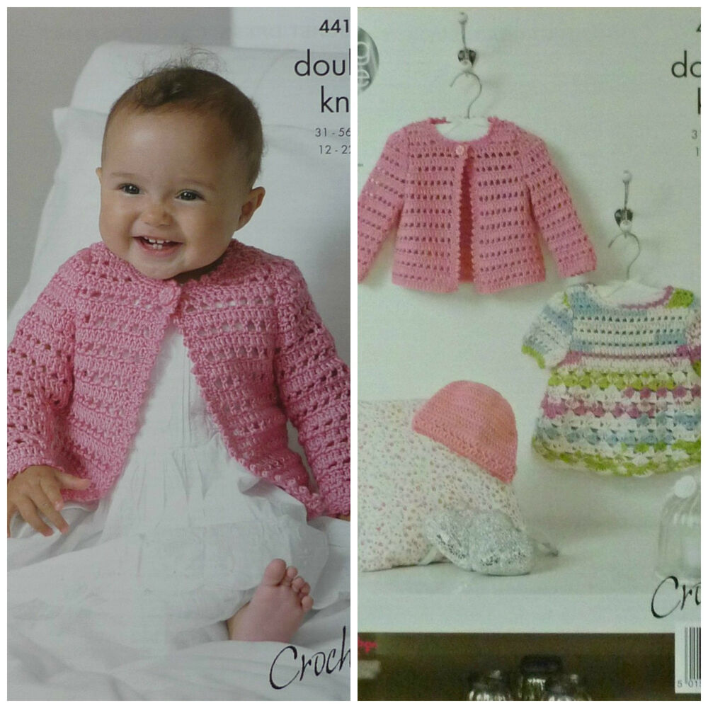 b3aacf78346 Details about CROCHET PATTERN Baby Lacy Cardigan Dress   Hat Cherished DK  King Cole 4416