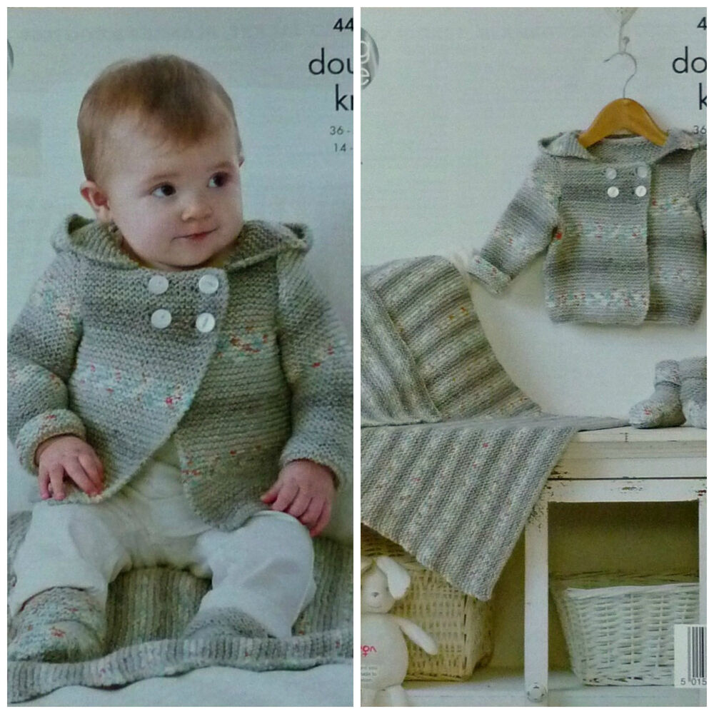 Knitting Patterns For Babies Double Knitting : KNITTING PATTERN Baby Double Breasted Hooded Jacket, Bootees & Blanket DK...
