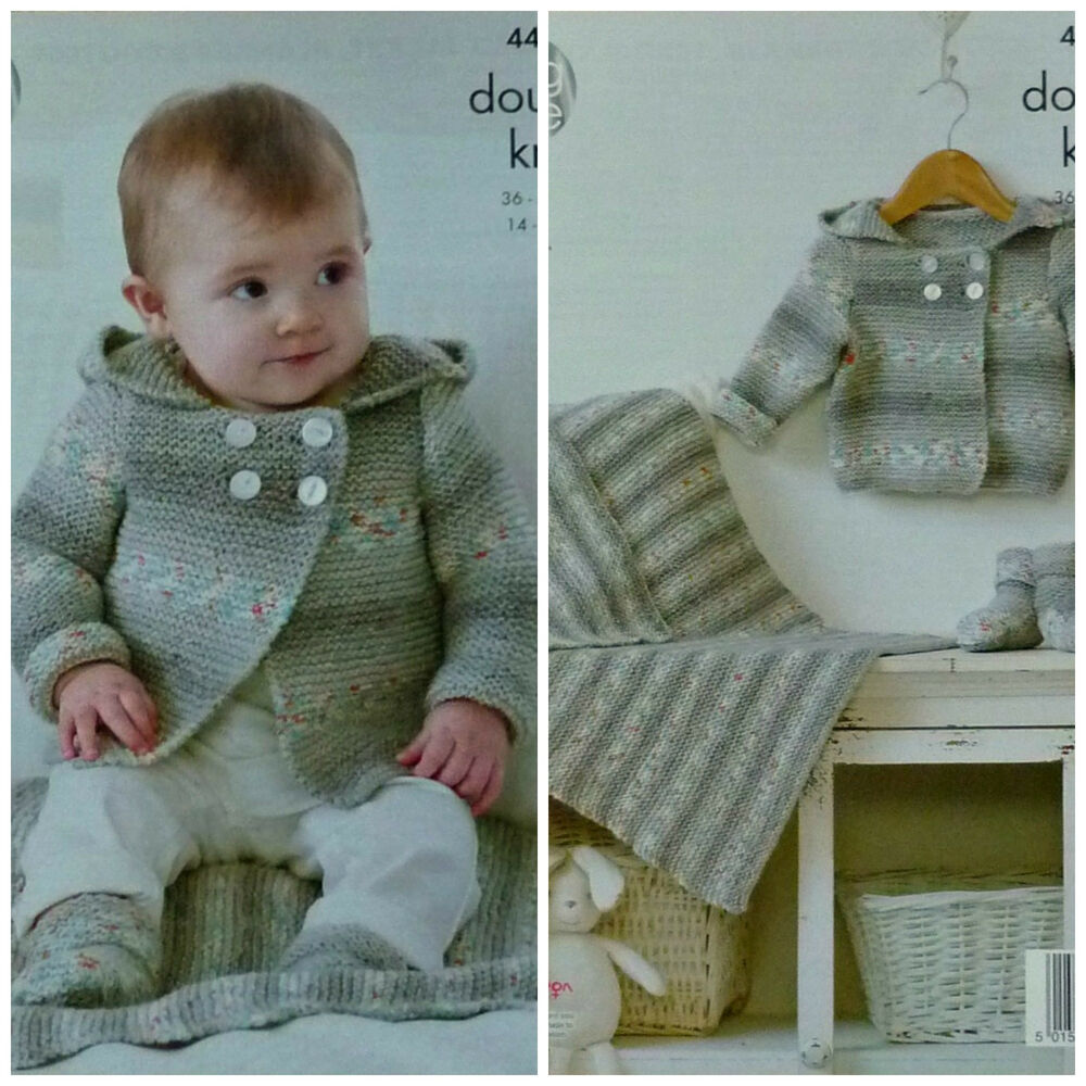 Knitting Pattern Baby Hooded Blanket : KNITTING PATTERN Baby Double Breasted Hooded Jacket, Bootees & Blanket DK...