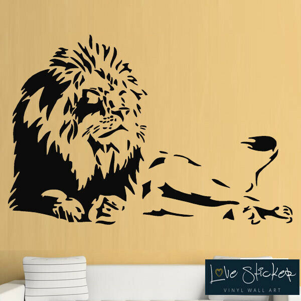 wall stickers lion animal safari cool living room hall art decals