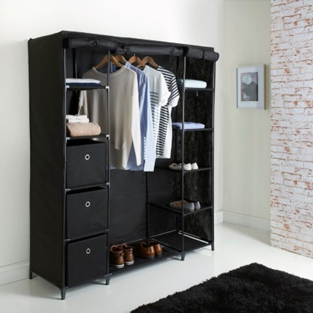 New Deluxe Large Canvas Wardrobe Charcoal Ebay