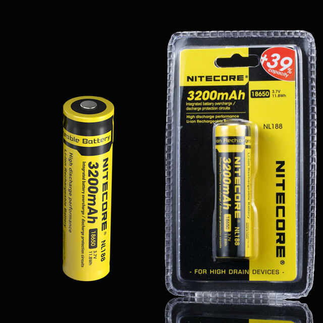 new genuine nitecore 18650 nl188 3200 mah rechargeable battery li ion protected ebay. Black Bedroom Furniture Sets. Home Design Ideas