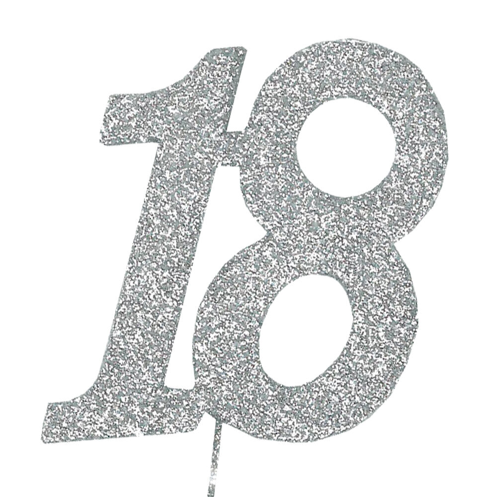 18 glitter number on a pick