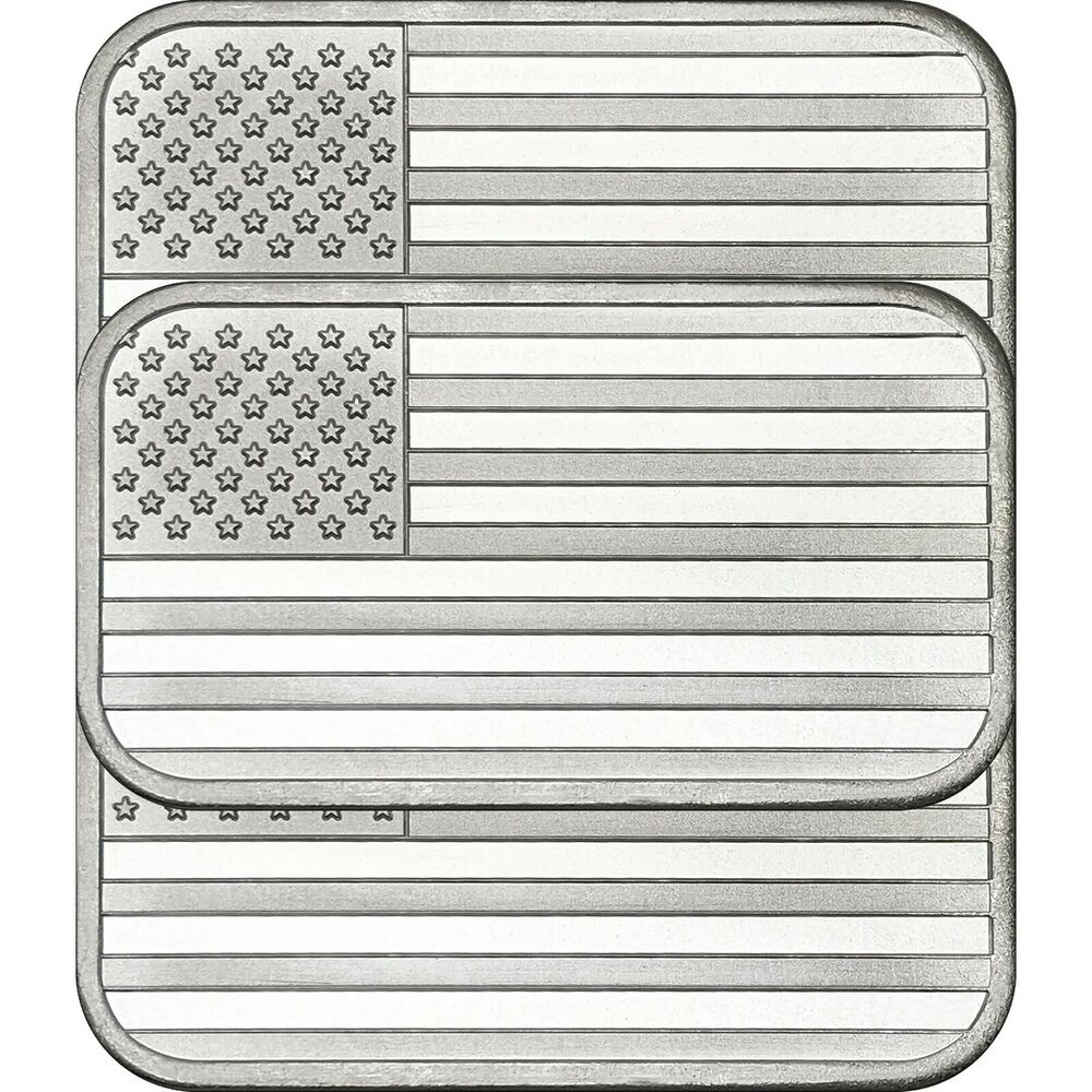 American Flag Bar By Silvertowne 1oz 999 Silver Bar 3pc