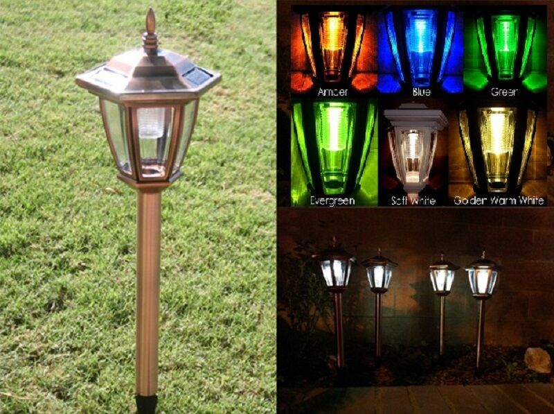 Solar Led Lights Copper Colored Garden Path Lighting
