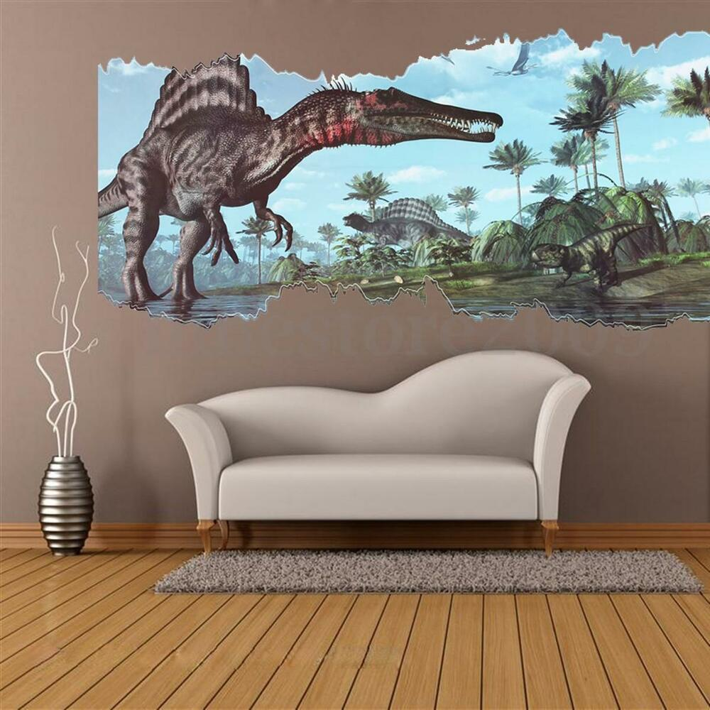 3d view dinosaur wall sticker kids room decor jurassic for Decor mural 3d