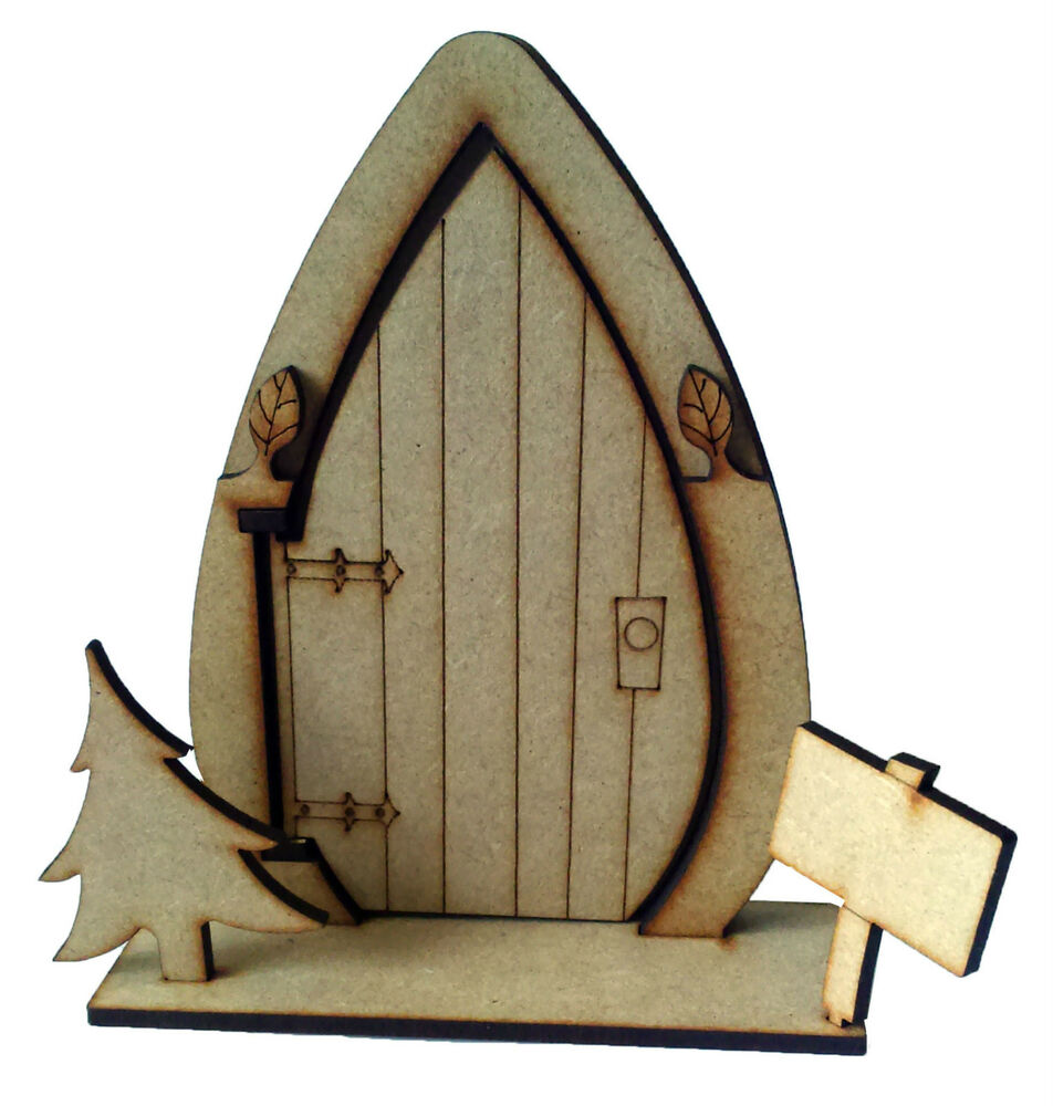 3d opening fairy door with tree wooden craft blank shape for Wooden fairy doors