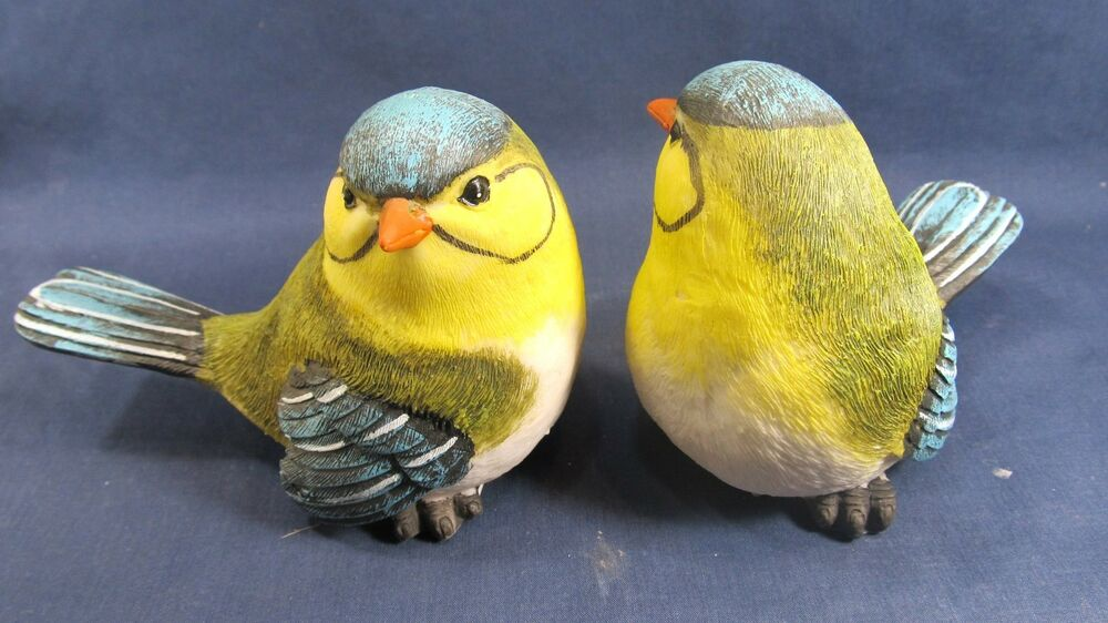 Bird Yard And Garden Blue With Yellow Resin Figurines