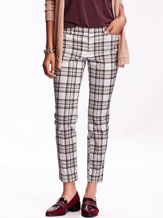 Old Navy Women S Patterned Pixie Chinos Grey Plaid Size 30