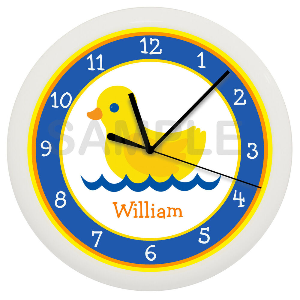 rubber duck wall clock personalized children ducky bathtub. Black Bedroom Furniture Sets. Home Design Ideas