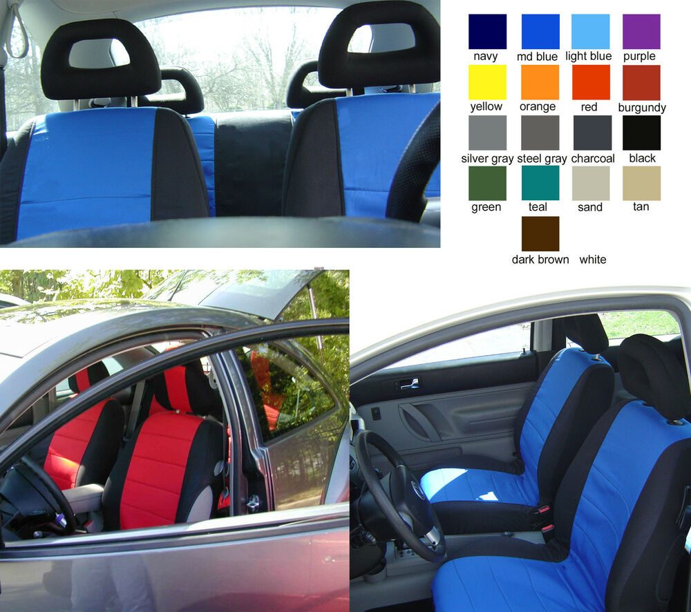 cc front and rear car seat covers vw beetle cotton two tone choose color ebay. Black Bedroom Furniture Sets. Home Design Ideas