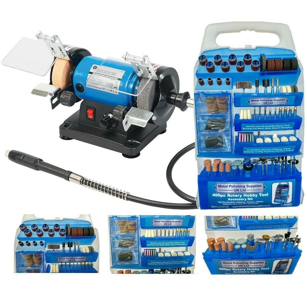 Pro Max 120w Mini Bench Grinder 400pc Accessory Set Ebay