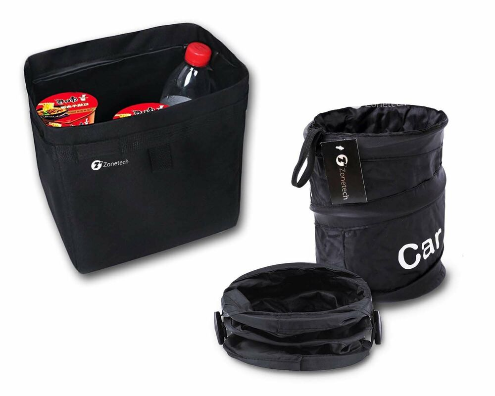 Zone Tech Traveling Car Trash Can Black Collapsible Pop Up