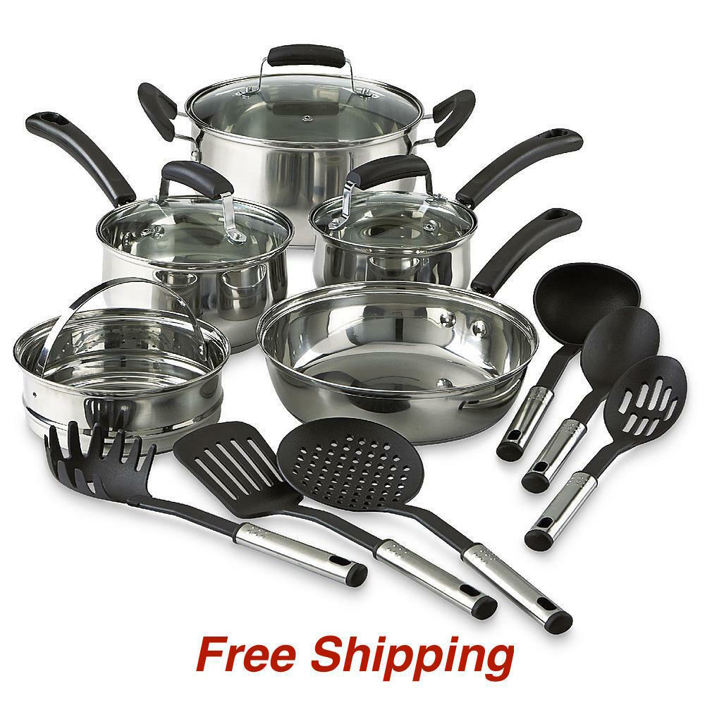 14 piece pots pans stainless steel nonstick kitchen cookware set cooking steamer ebay. Black Bedroom Furniture Sets. Home Design Ideas