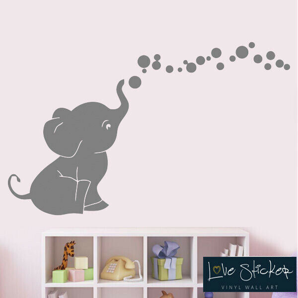 Wall Stickers Elephant Bubbles Cute Nursery Animal Art