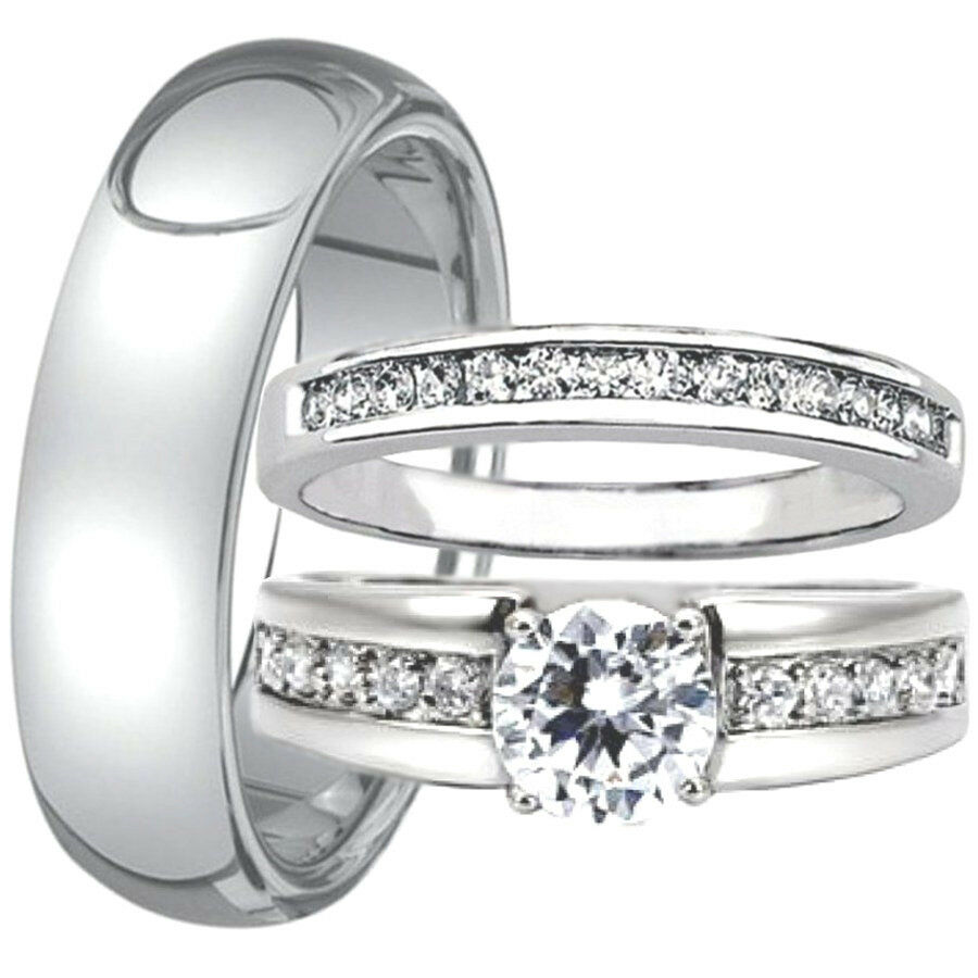 3 Pc His And Hers Engagement Wedding Ring Band Set Mens Tungsten 6mm Womens CZ