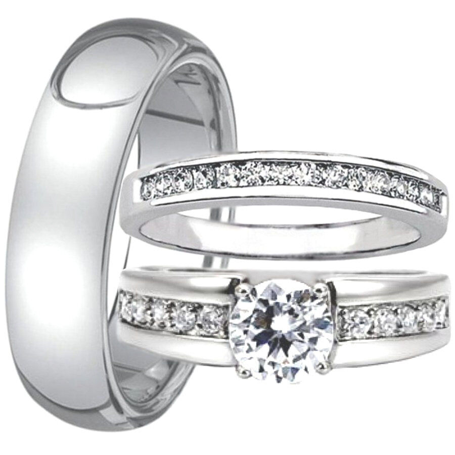 3 pc his and hers engagement wedding ring band set men39s for Wedding rings his and hers sets