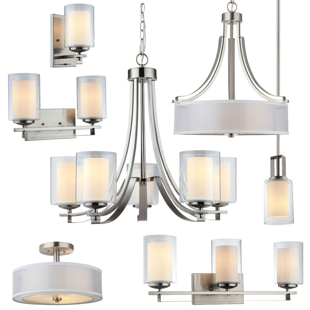 El dorado satin nickel bathroom vanity ceiling lights chandelier lighting ebay for Pendant lighting for bathroom vanity