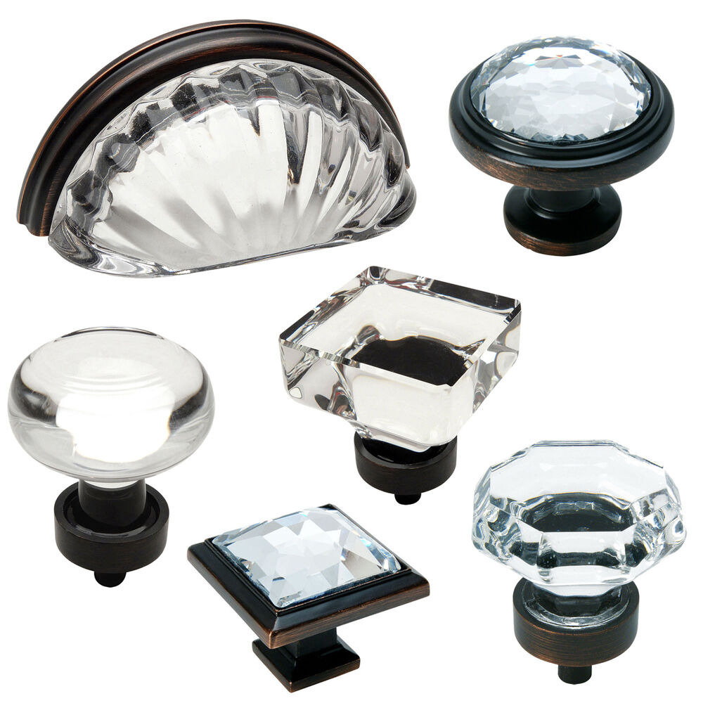 Kitchen Knobs And Pulls For Cabinets: Cosmas Clear-Oil Rubbed Bronze Glass Cabinet Knobs, Cup
