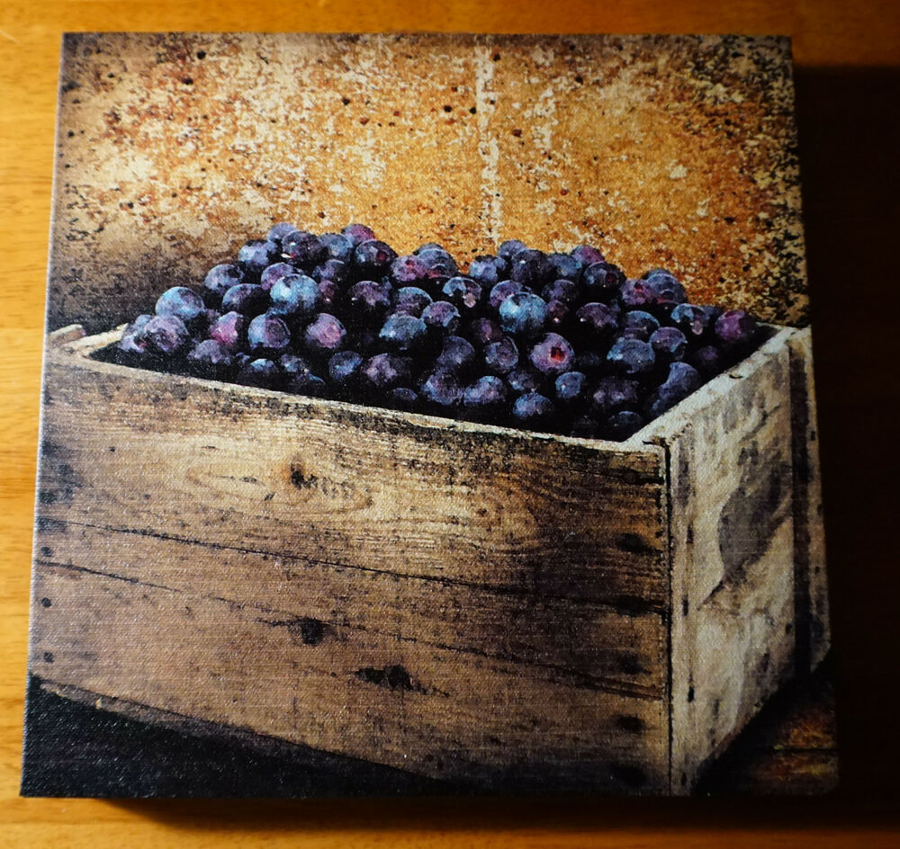 Blueberries country farm crate painted print sign kitchen for Decorative home