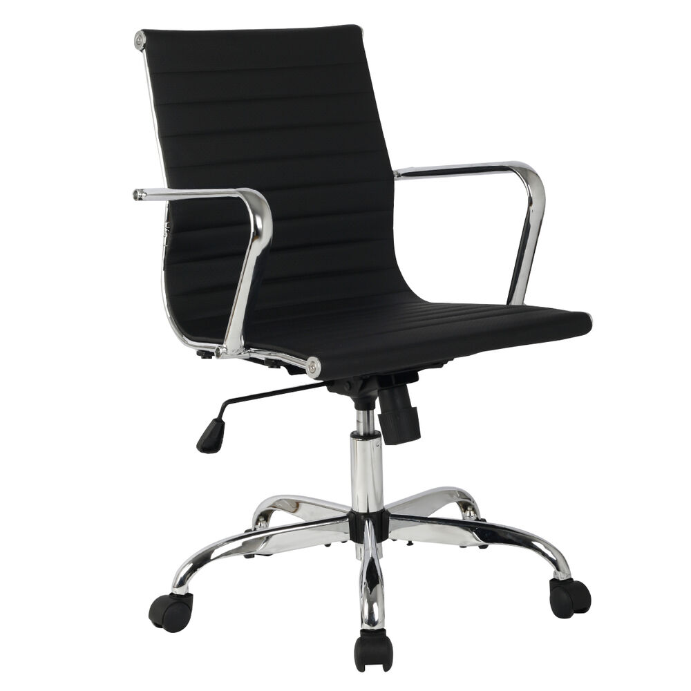 Modern pu leather ergonomic mid back office chair for Modern leather office chairs