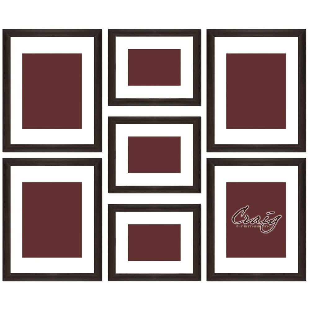 craig frames 7 piece brown gallery wall frame set with glass white matting ebay. Black Bedroom Furniture Sets. Home Design Ideas