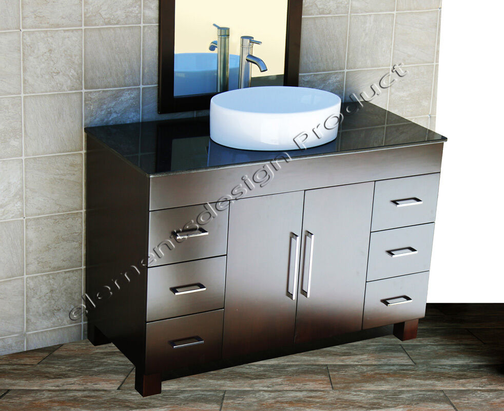48 Bathroom Vanity Cabinet Black Granite Top Ceramic Vessel Sink Faucet Cms1 Ebay