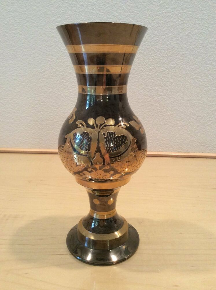 solid brass vase with etched design made in india 9 1 2in tall 3 1 2in diameter ebay. Black Bedroom Furniture Sets. Home Design Ideas