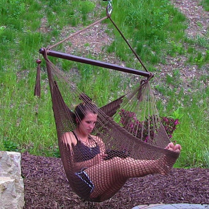 Patio Hammock: Garden Rope Hammock Porch Patio Swing Seat Hanging Lounge