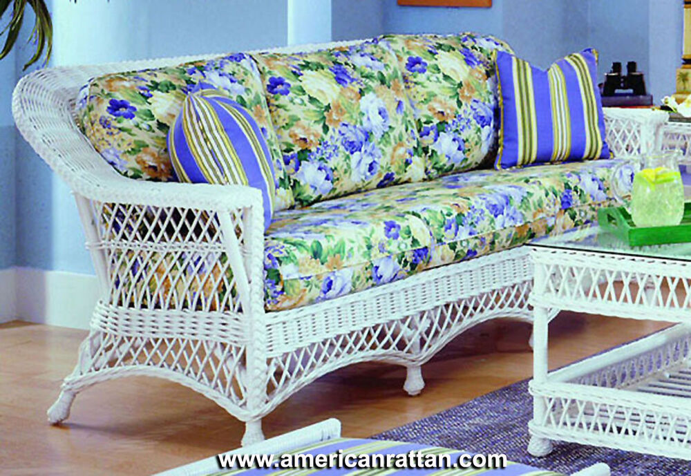 New bar harbor indoor natural rattan and wicker sofa by for Antigua wicker chaise