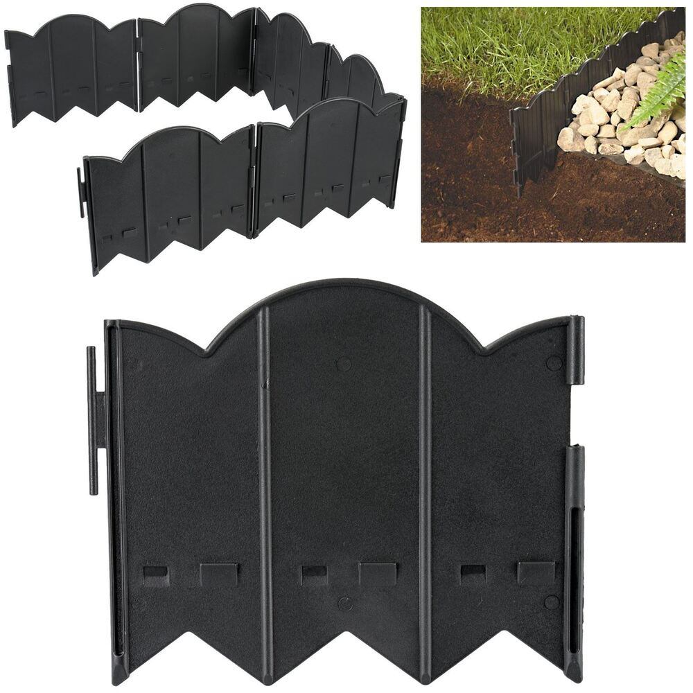 12pc Hammer In Lawn Edging Rounded Border Garden Patio