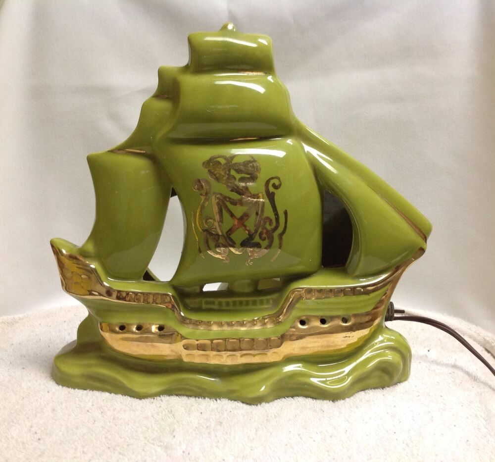 Vintage Tv Lamp Green Mid Century Pottery Nautical Pirate