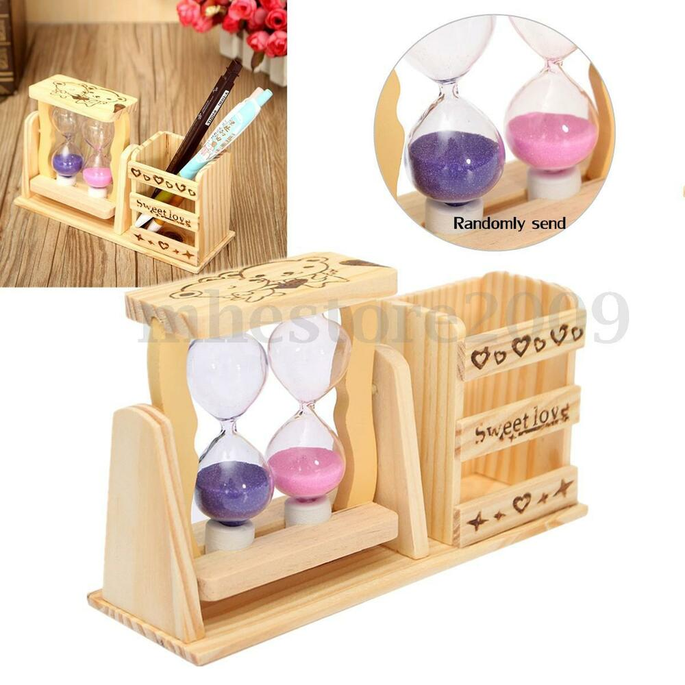 Wooden Office Gifts ~ Wooden sandglass pen pencil holder hourglass home office