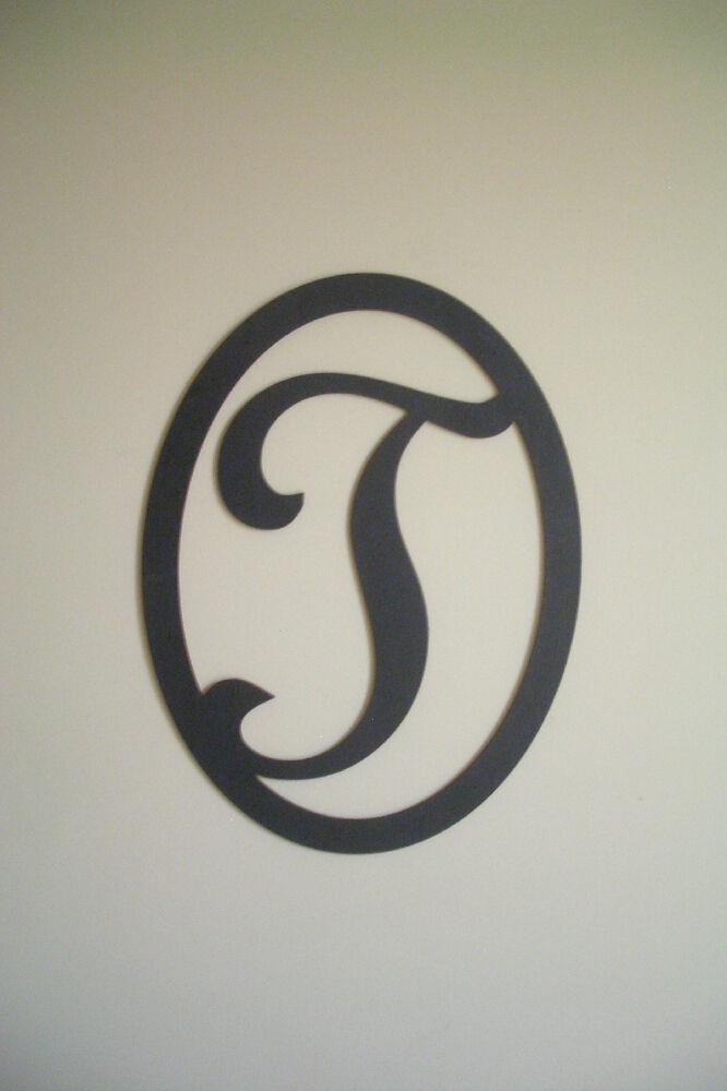 Wall Decor Letter T : Black wood initial letter t wall decor sign