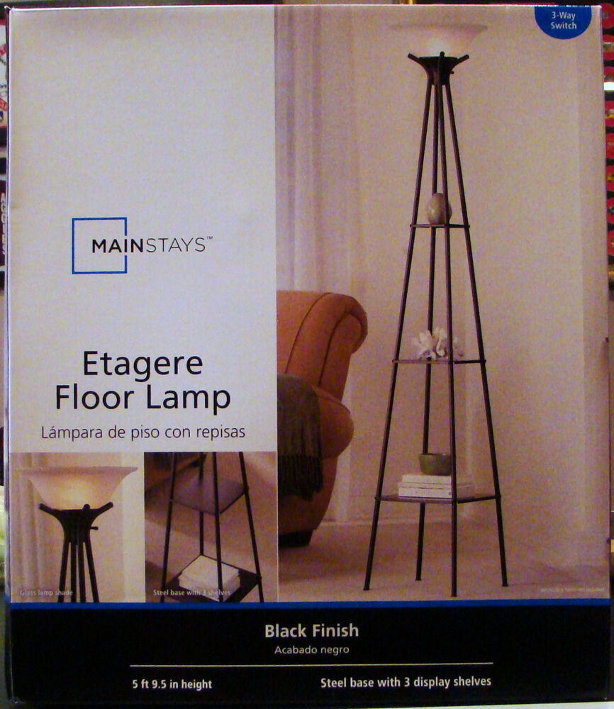 New mainstays etagere black finish floor lamp light with 3 for Mainstays 3 way floor lamp