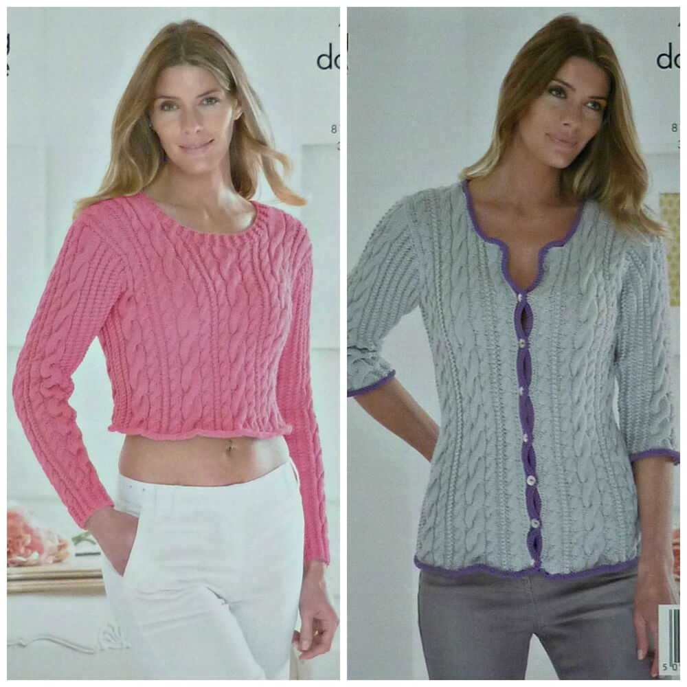 f297e685f Details about KNITTING PATTERN Ladies Long Sleeve Cropped Cable Jumper   Cable Cardigan DK 4162