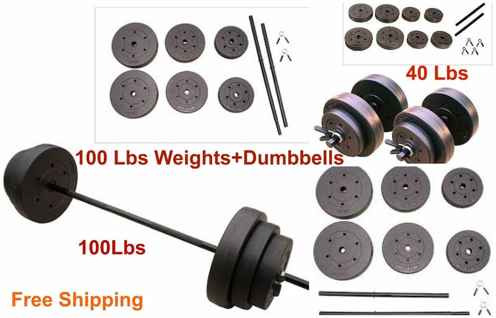 Home Gym 100 Lbs Barbell Dumbbells 40 Lbs Fitness Body