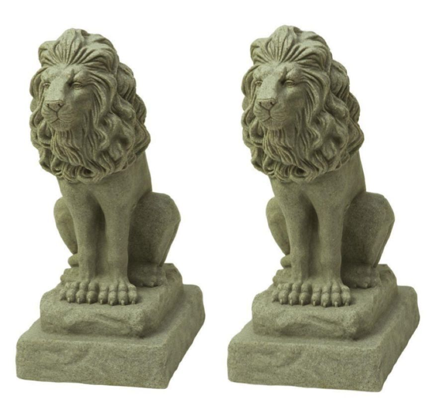 2 PACK Guardian Lion Cat Statue Sculpture Figure Garden