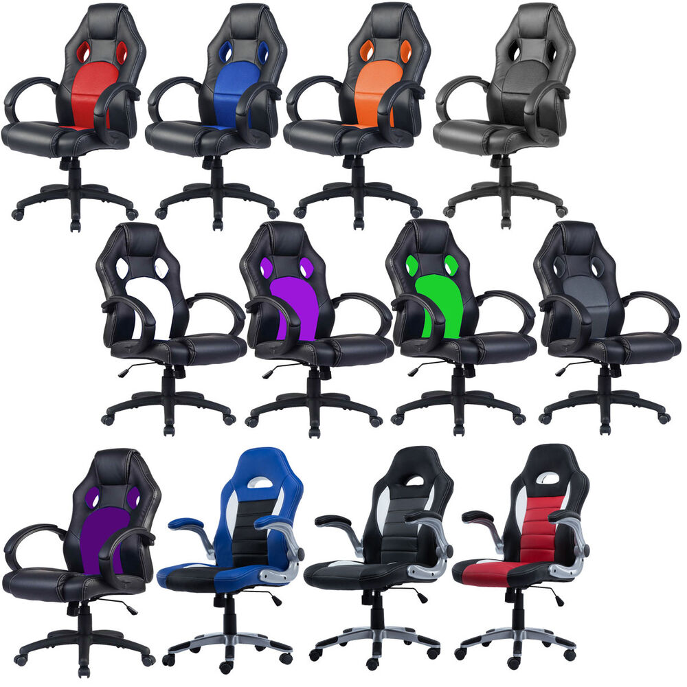 office chair racing sports car seat gaming armchair computer reclining executive ebay. Black Bedroom Furniture Sets. Home Design Ideas
