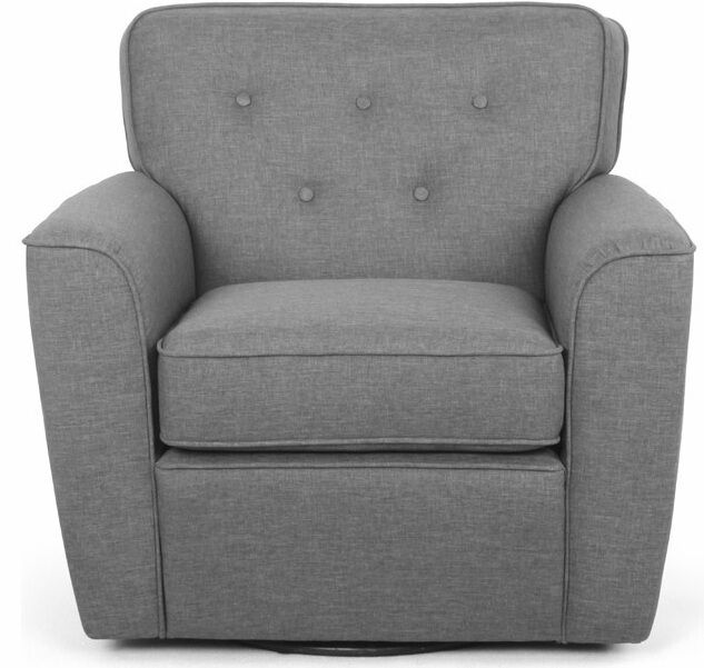 Gray Swivel Accent Chair Grey Fabric Tufted Club Arm