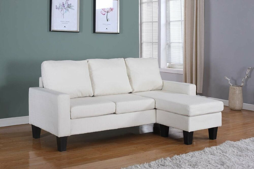Lt Beige Fabric Sectional Sofa Reversible Chaise Lounge
