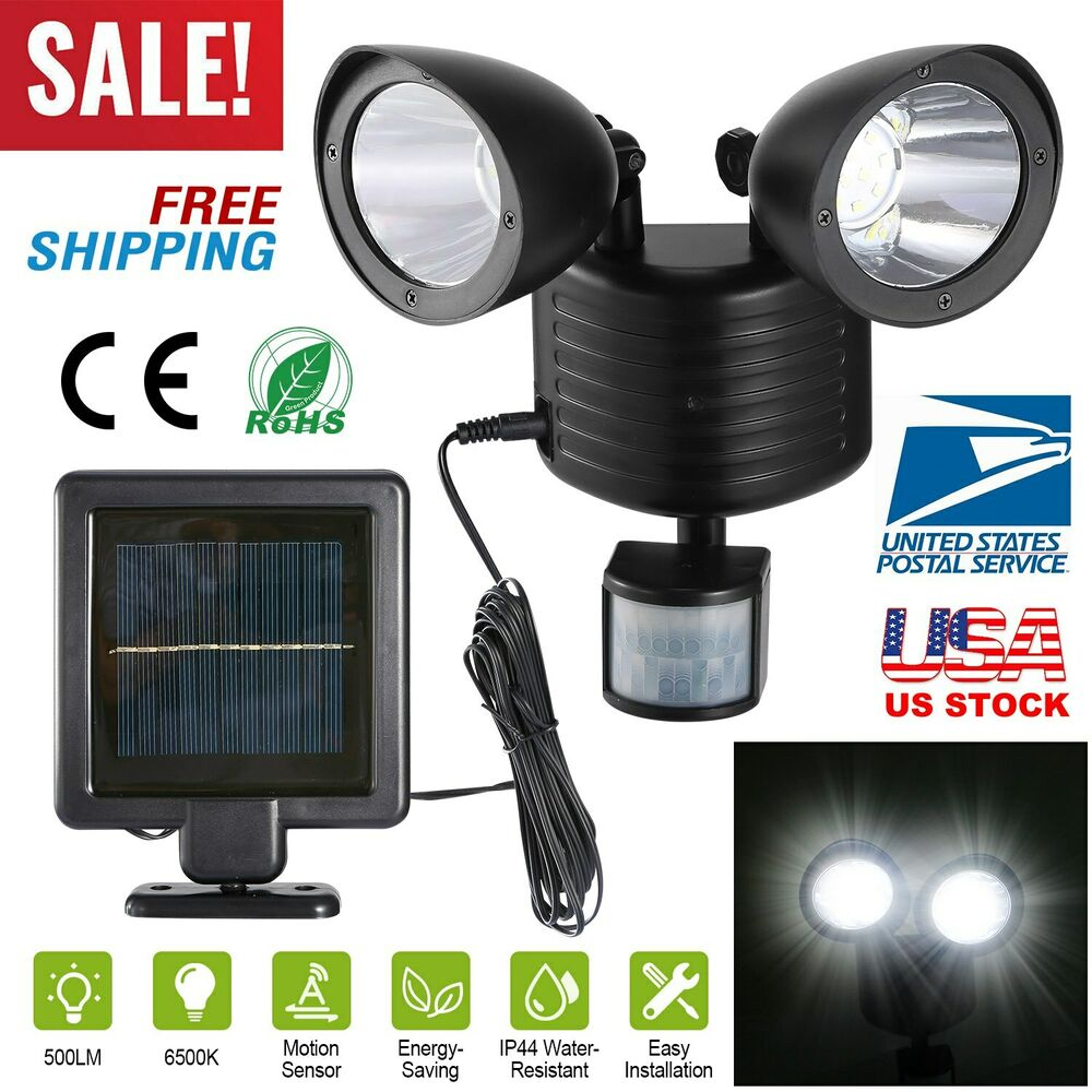 dual security detector solar spot light motion sensor. Black Bedroom Furniture Sets. Home Design Ideas
