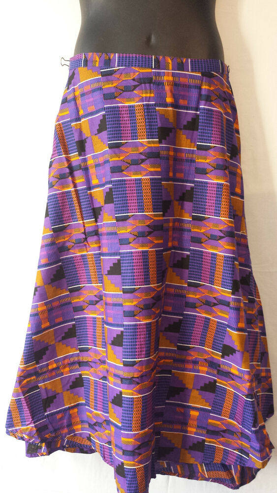 African Kente Fabric Cloth Wrap Around Skirt Maxi Vintage