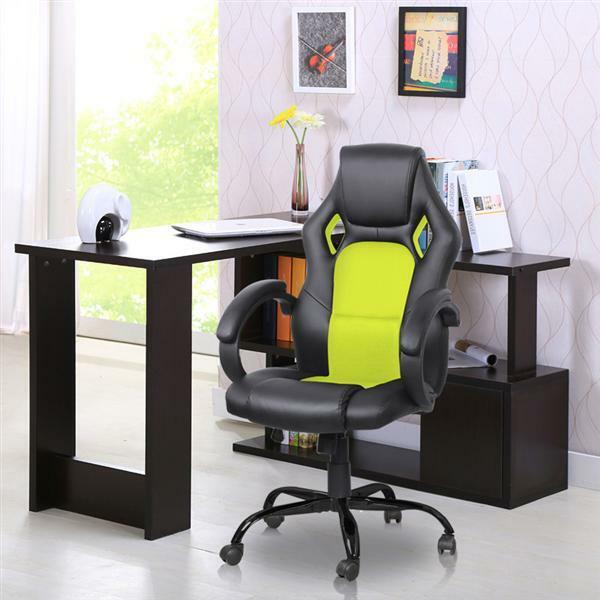 high back race car style bucket seat office desk chair gaming chair green new ebay. Black Bedroom Furniture Sets. Home Design Ideas