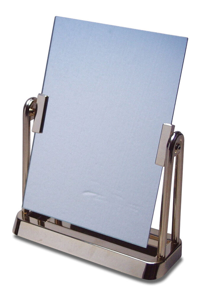 Cosmetic make up table stand vanity clear frame swivel for Gold stand up mirror