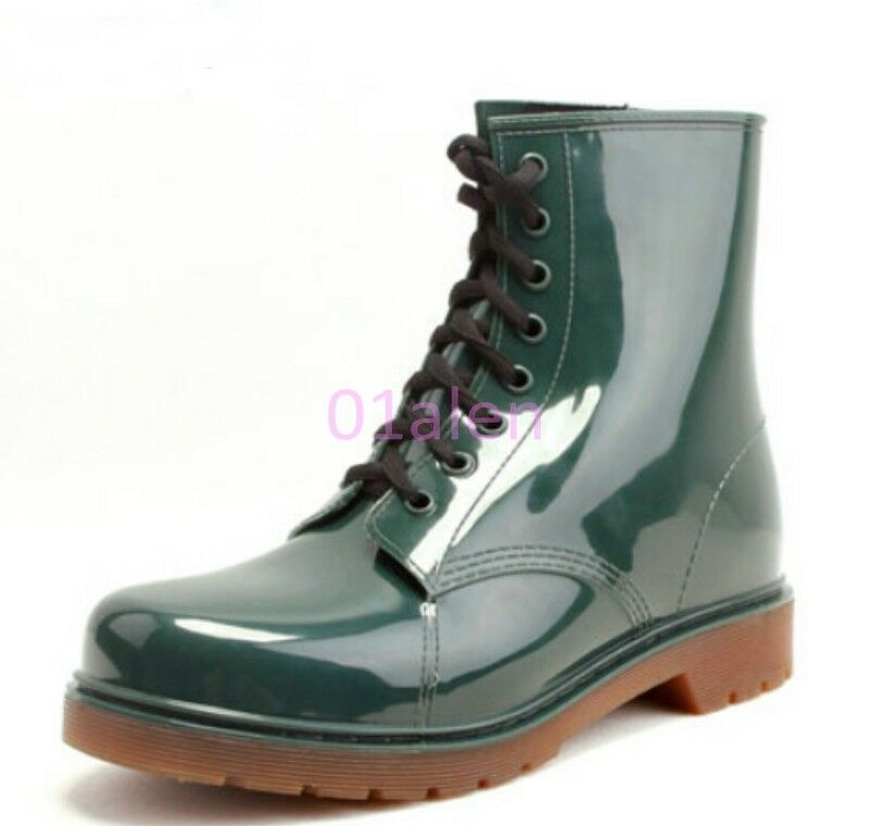 mens high top lace up waterproof rubber shoes boots